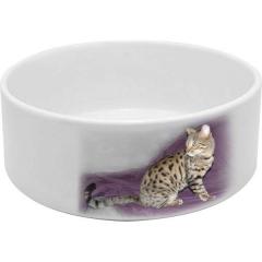 Miska pro kočku bílá keramická s vaší FOTO