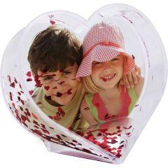 Sněžítko ve tvaru srdce s vaší FOTO se srdíčkovými flitry