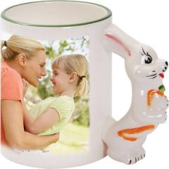 Hrnek s ouškem zvířátka s vaší FOTO - Zajíček