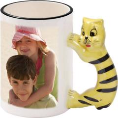 Hrnek s ouškem zvířátka s vaší FOTO - Kočka