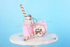 Mini dortík - muffin zdobený - 20cm - růžový
