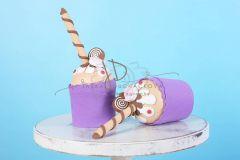 Mini dortík - muffin zdobený - 20cm - fialový