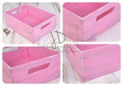 Bedýnka dřevěná - barevná s úchyty - růžová patina