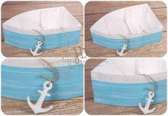 Lodička dřevěná s kotvičkou modro bílá