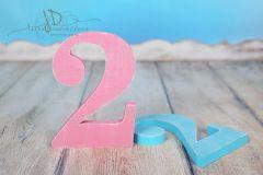 Číslo dřevěné 2 - růžová patina