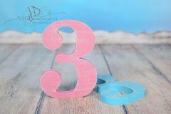 Číslo dřevěné 3 - růžová patina