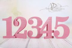 Sada číslic 1 až 5 - růžová patina
