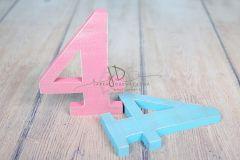 Číslo dřevěné 4 modrá patina