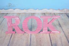 Nápis ROK - růžová patina 1