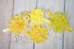 Čelenka pružná zdobená - žlutá s velkou květinou