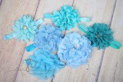 Čelenka pružná zdobená - modrá s velkou květinou