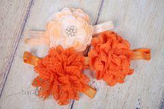 Čelenka pružná zdobená - oranžová s velkou květinou