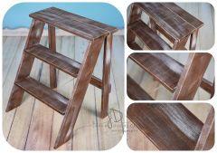 Schůdky dřevěné jednostranné - ořech patina
