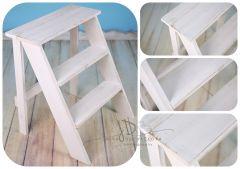 Schůdky dřevěné jednostranné - bílá patina