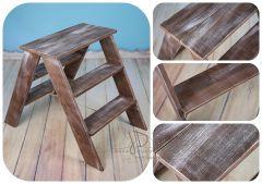 Schůdky dřevěné oboustranné - ořech patina