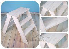Schůdky dřevěné oboustranné - bílá patina