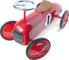 Kovové odrážedlo - Historické závodní auto - červené