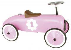 Kovové jezdítko - Historické závodní auto - růžové