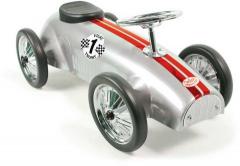 Kovové jezdítko - Historické závodní auto - stříbrné