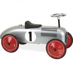 Kovové odrážedlo historické - závodní auto šedé
