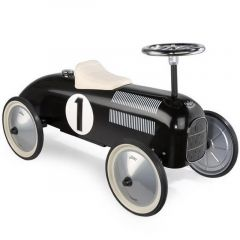 Kovové odrážedlo historické - závodní auto černé