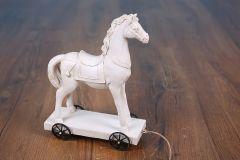 Koník s kolečky polyresin - dekorace - bílý