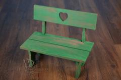 Lavička dětská se srdíčkem - zelená patina