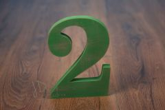 Číslo dřevěné 3 zelená patina