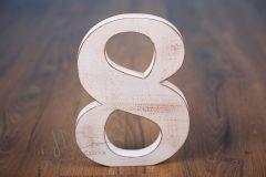 Číslo dřevěné 8 bílá patina
