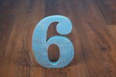 Číslo dřevěné 6 - modré