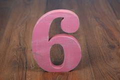 Číslo dřevěné 6 - růžové