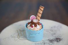 Mini dortík muffin zdobený 15cm modrý