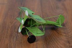 Letadlo plechové zelené - dekorace