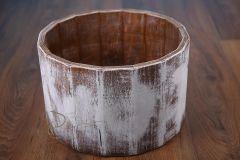 Vědro dřevěné vysoké - bílá patina