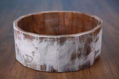 Vědro dřevěné - bílá patina