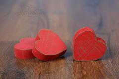 Srdíčko dřevěné - červená patina malé