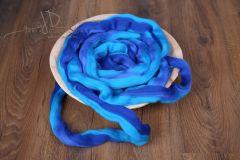 MERINO vlna - česanec melír - modrá