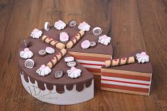 Dort pěnový s výkrojí - čokoládový s růžovým