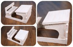 Lavice školní se stolečkem newborn bílá patina