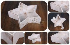 Hvězda - mísa - vědro bílá patina hladká