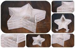 Hvězda - mísa - vědro bílá patina skládaná