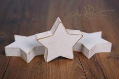 Hvězda dřevěná malá - zlatá patina