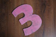Číslo 3 - 30cm - růžová patina
