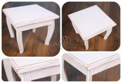 Stolek / stolička - dortový podnos - bílá patina