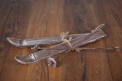 Lyže s hůlkami - ořech patina