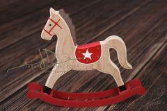 Koník houpací natural/červená