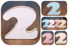 Číslo 2 - bílá oblé hrany