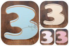 Číslo 3 - modrá oblé hrany