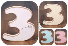 Číslo 3 - bílá oblé hrany