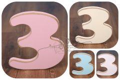 Číslo 3 - růžová oblé hrany